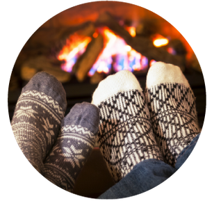 feet in front of fireplace